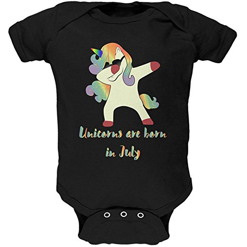 Old Glory July Birthday Dabbing Unicorn Sunglasses Soft Baby One Piece Black 0-3 - Month 3 Old Sunglasses