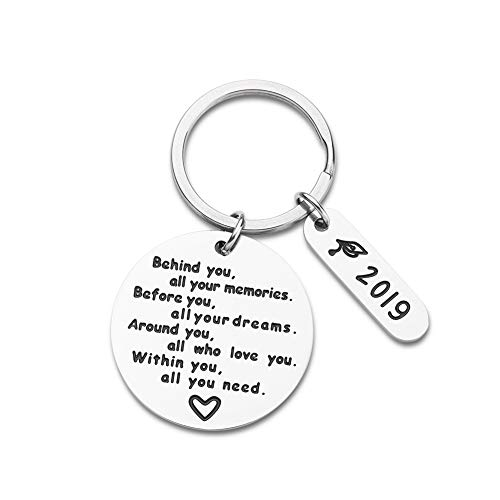 Graduation Gifts Keychain for Him Her Inspirational Gifts for Women Men Teenage Girls Class of 2019 Behind You All Your Memories Before You All Your Dream Jewelry Memories Gift for High School College (Before Christmas Days 159)
