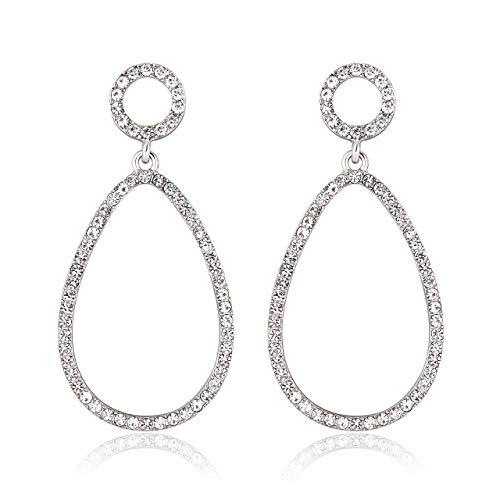 ISALOE Crystal Teardrop Earrings Women's Pave Crystal Rainbow Hoop Dangle Earrings (B-Silver)