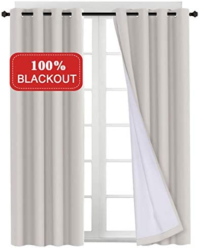 Waterproof Blackout Curtains for Bedroom Waterproof Thermal Insulated Window Drapes with White Backing Grommet Window Treatment Glass Patio Door Curtain Draperies,52 x 96 inches, 2 Panels, Natural