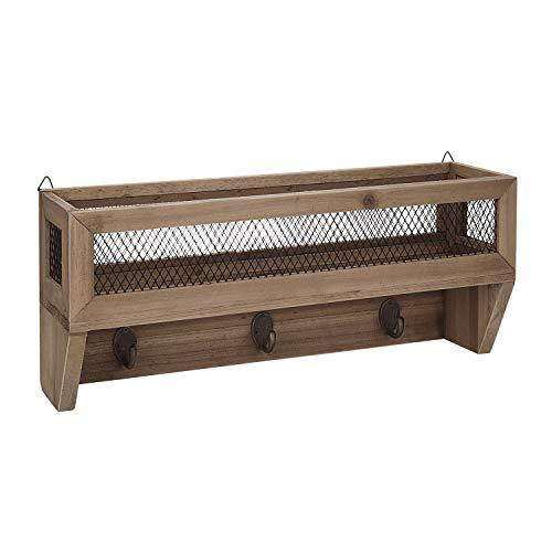 (Flexzion Entryway Organizer w/Key Hooks - Key Rack w/Shelf, Rustic Wooden Wall-Mount Mail Letter Holder w/ 3 Coat Hooks, Metal Wire Mesh Storage Basket Hanger for Entryway, Kitchen, Office & Door)