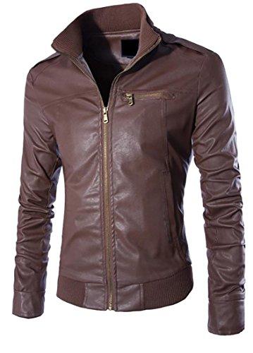 Cruiize Womens Slim Moto Stand Collar Faux Leather Jacket Coat Dark Coffee L