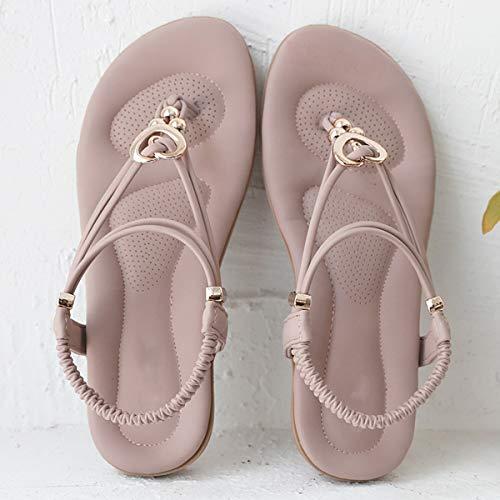 Boucle Sandales Violet Chaussure Femme De Wealsex Bohémien Romain Ville Plates Tongs Été Or Élastique Avec 1ZWqTn