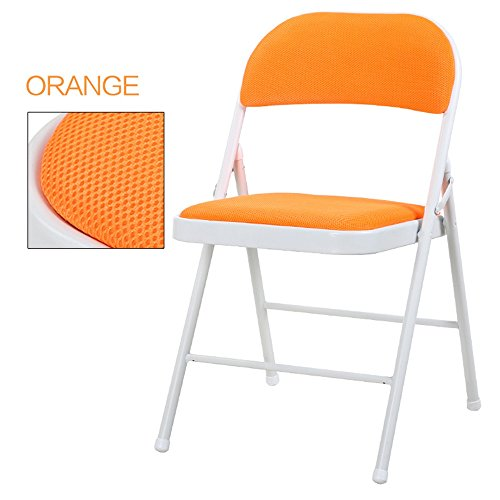 Breathable dining chair / backrest computer chair / casual simple folding chair / dormitory chair / conference chair / portable folding chair / home dinette / five colors optional / ( Color : Orange ) by Folding Chair