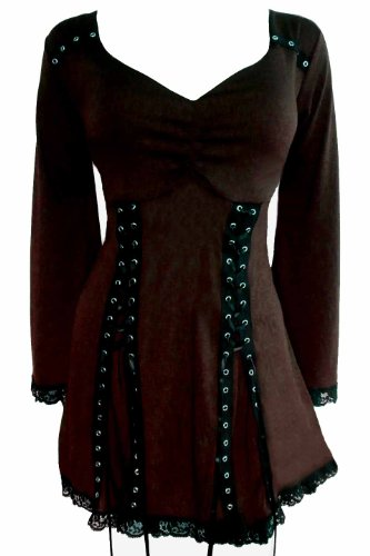 Dare to Wear Electra Corset Top: Gothic Punk Rock Steampunk Women's Plus Size Tunic Shirt for Everyday Halloween Cosplay Concerts, Walnut 4X