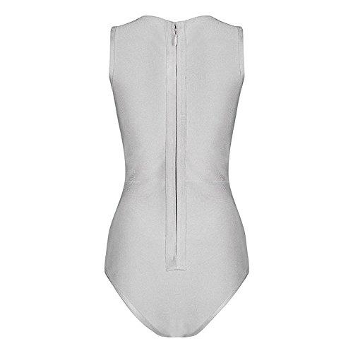 HLBandage Women One-Piece V-Neck Cross Bandage Swimsuit Gris