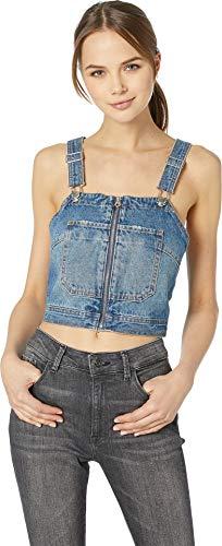 Couture Juicy Zip (Juicy Couture Women's Zip Front Denim Crop Top Paige Wash 6)