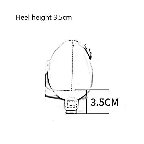 Niedrig Sandalen cm High Farbe Damen CJC Damen cm 5 Riemchen 7 Heel Slingback 3 Leder Mitte UK4 5 Größe EU36 gXHXrwx