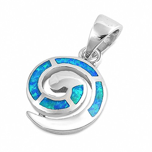 (Swirl Spiral Pendant Charm Created Blue Opal 925 Sterling Silver)