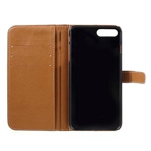 Vandot para iPhone 7 Plus PU Funda Serie Bolsa Modelo Colorido con Bonito Hermoso Patrón de Impresión Dibujo Monedero de la Cartera de la Cubierta Móvil del Bolso del Teléfono Móvil del Proteja la pie HSD 10