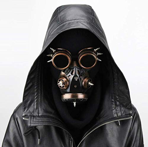 WFTD Steampunk Gas Mask Goggles, Nail Shape Death Mask Masquerade Cosplay Halloween Costume Props,Metallic -
