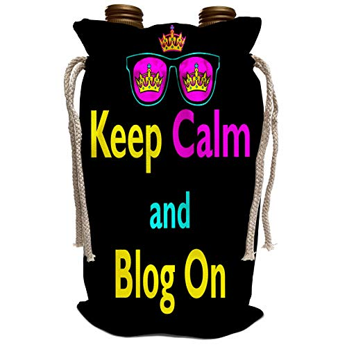 3dRose Dooni Designs CMYK Hipster Designs - CMYK Keep Calm Parody Hipster Crown And Sunglasses Keep Calm And Blog On - Wine Bag ()