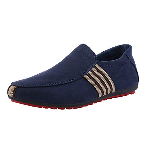 RAINED-Men's Slip On Walking Shoes Deck Shoes Canvas Boat Shoe Non Slip Casual Loafer Flats Fashion Outdoor Sneakers Blue