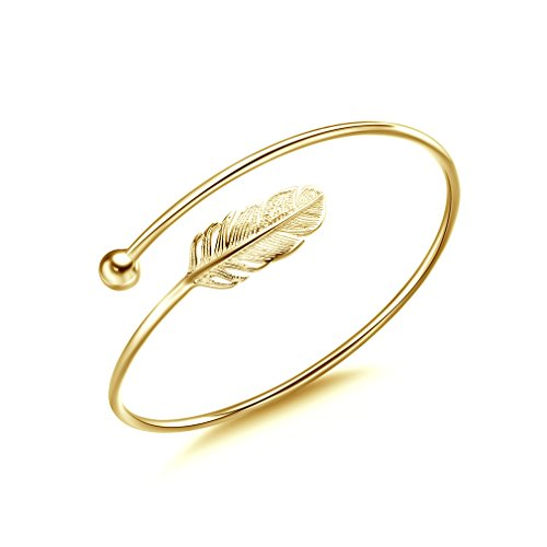 Jenny-BaBy S925 Sterling Silver Women Bracelet Vintage Style Adjustable Feather Bangle (Gold Color)