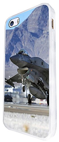 912 - Army Jet Fighter Look F-16 Design iphone SE - 2016 Coque Fashion Trend Case Coque Protection Cover plastique et métal - Blanc