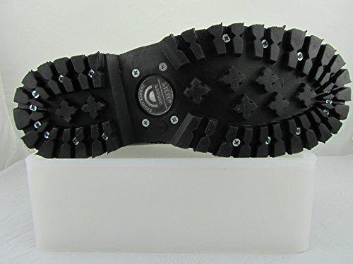 STEELGROUND UNISEX HIGH QUALITY LEATHER 10 EYE BOOTS BLACK BOX ROCK BIKER ULTRA RESISTANT STELL CAP