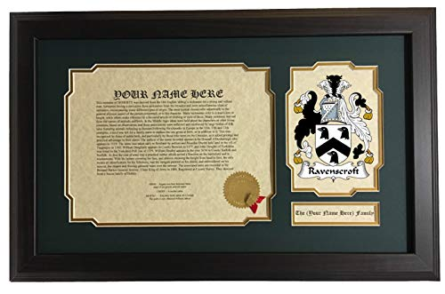 Ravenscroft - Coat of Arms and Last Name History, 14x22 Inches Matted and Framed