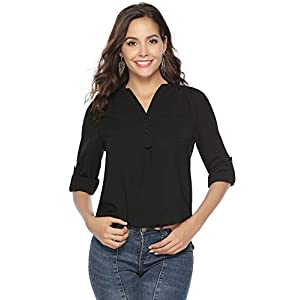 Abollria Womens Blouse Casual V Neck Cuffed Sleeves Solid Elegant Shirts Top