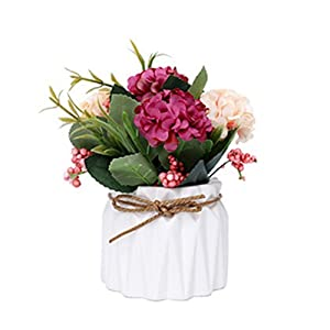 Skyseen Artificial Hydrangea Potted Plant Silk Fake Flowers with Vase Home Hotel Table Bonsai Wedding Party Centerpieces Garden Floral Decor,Mini 29