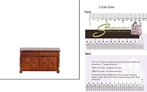 Dollhouse Miniature Walnut Carved Credenza JBM Miniatures