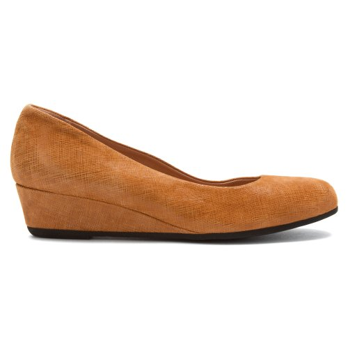 French Sole FS/NY Womens Gumdrop Wedge Pump Cognac Cartizze khrWIma