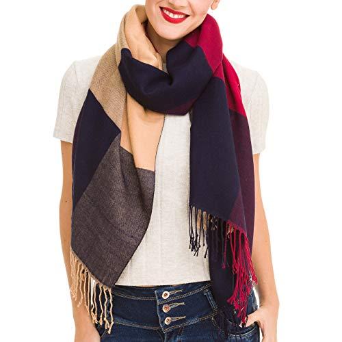 - Scarf for Women Checked Plaid Reversible Soft Cashmere Feel Elegant Shawl Wrap (YW01-2)