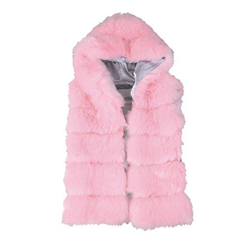 [Women's Warm Short Pink Faux Fur Vests Jacket Coats Plus size for Autumn Winter] (Mongolian Halloween Costume)