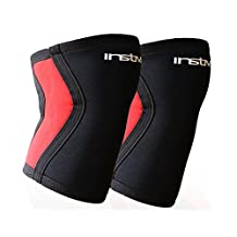 Instive Knee Sleeves, Knee Support, Knee Compression, Premium Neoprene 7mm, Weightlifting and Squat, Gym and Sports (Pair)