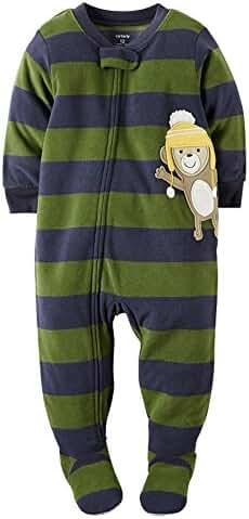 Carter's Little Boys' 1-Piece Fleece Footed Pajamas (Monkey) (4T, Striped Monkey)