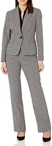 Le Suit Women's 1 Button Notch Collar Plaid Pant Suit