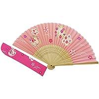 KYOYU Japanse Flower Pattern Silk Sensu Folding Fan,Pink