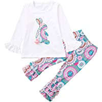 1-6 Years Toddler Kids Baby Girls Long Sleeve Little Animals Top T Shirt+ Cute Floral Pants Clothes Home Wear Outfit Sets