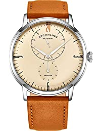 Stührling - Reloj de pulsera para hombre, correa de piel, minimalista, analógico, con vidrio abovedado, 24 horas de subesfera, para hombre, Marrón/Café