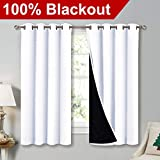 "NICETOWN White 100% Blackout Lined Curtains, 2 Thick Layers Completely Blackout Window Treatment Thermal Insulated Drapes for Kitchen/Bedroom (1 Pair, 52"" Width x 63"" Length Each Panel)"