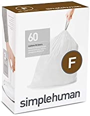 simplehuman Code F Custom Fit Liners, Drawstring Trash Bags, 25 L / 6.5 Gallon, 3 Refill Packs (60ct)