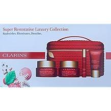Clarins Limited Edition Super Restorative Luxury Collection: Serum, 1.0 oz.Super Restorative Day Illuminating, 1.7 oz.Super Restorative Night Cream, 0.53 oz. Super Restorative Neck Concentrate, 0.50