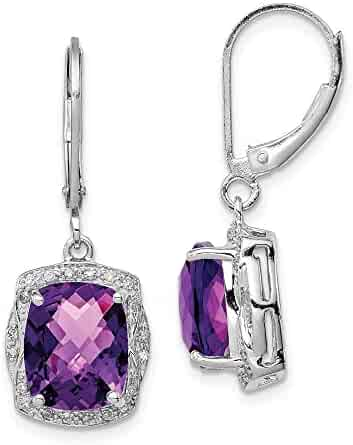 Amethyst and Diamond Earrings .03cttw 18mm x 12mm Mia Diamonds 925 Sterling Silver