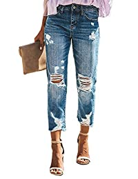 mdrqzdfh Boy Women Distressed Boyfriend Denim Jeans Boyfiriend Boyfriends Wash Size
