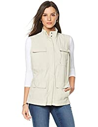 Women's 12-Pocket Travel Vest Missy Zip Front Stone XS New 492-110
