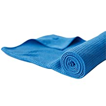 Umiwe Non Slip Yoga Mat Towel with Silicone Beads - Ultra Absorbent Microfiber & Extra Firm Grip - for Hot Yoga Pilates Workout Exercise, Blue