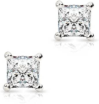 Princess Cut AAA+ Cz Cubic Zirconia 18K White Gold Plated Unisex Stud Earrings 6mm