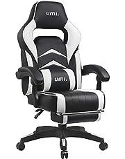 UMI Chaise Gaming de Bureau Fauteuil Gamers Siège Ergonomique avec Repose-Pieds Rembourré Blanc