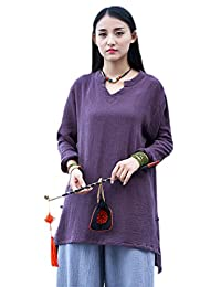 Soojun Women's Solid Color Weight Light Tops Cotton Linen Tunic Blouses