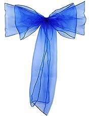 Organza skrzydła krzesła na wesele, bankiet, imprezę, dekoracja, kokardki, krawaty niebieskie