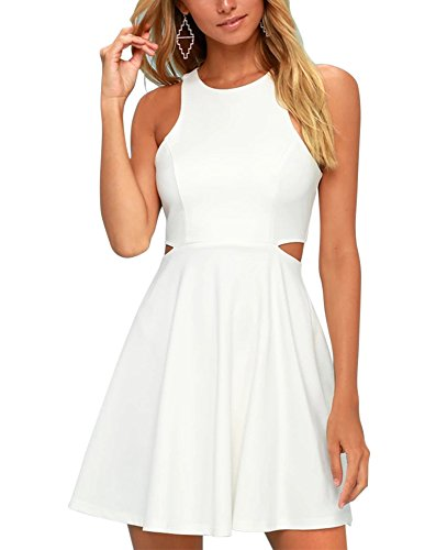 BELONGSCI Women Outfit Sweet and Cute Sleeveless Racerback Flared Swing A-Line Waist Hollow Out Summer Short Dress