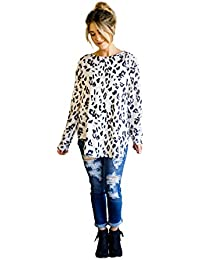 Women's Long Sleeve Leopard Knit Casual Loose Sweater Outerwear