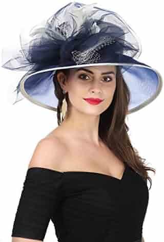 7183dad78374f SAFERIN Women s Organza Church Kentucky Derby Hat Feather Veil Fascinator  Bridal Tea Party Wedding Hat