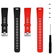 ECSEM Replacement Soft Silicone Bands and Straps for Garmin vivosmart HR (Single color - 2p(B+Red))