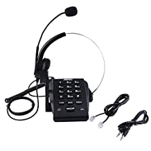 AGPtek®New Version HA0071 Call Center Dialpad Monaural Corded Headset Headphone Telephone with Tone Dial Key Pad & REDIAL