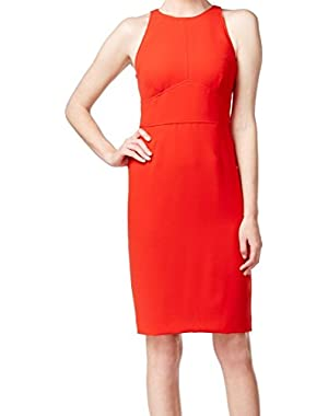 Calvin Klein Women's Seamed Open Back Sheath Dress Red 4